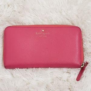 KATE SPADE - Pink Pebbled Leather Wallet